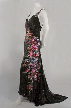Evening Dress, House of Worth: ca.1935, tulle completely covered in sequins.