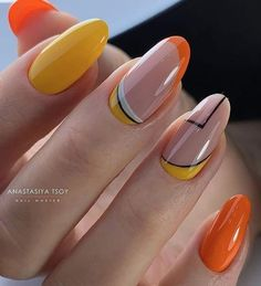 In look for some nail designs and some ideas for your nails? Here's our set of must-try coffin acrylic nails for trendy women. Neon Nail Art, Fall Nail Art, Neon Nails, Yellow Nails, Dream Nails, Love Nails, Pretty Nails, My Nails, Minimalist Nails