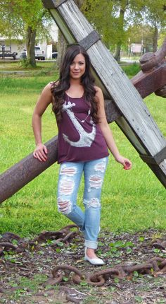 Anchors Away Tank in Burgundy