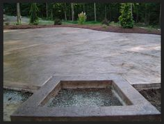 Landscape and Garden Cool Stamped Concrete Patio With Fire Pit as .