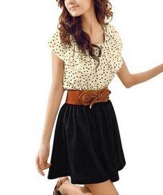 Allegra K Women Dots Print Flouncing Patchwork Dress W Waist Belt for $7.12 - $12.29. A casual cute dress for less<3 http://www.amazon.com/gp/product/B008G51XA2/ref=as_li_qf_sp_asin_il_tl?ie=UTF8&camp=1789&creative=9325&creativeASIN=B008G51XA2&linkCode=as2&tag=cheaphighfash-20&linkId=4Q7QBRSWAXSCOD75