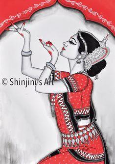 Shinjini`s Art – Indian Folk Art (Madhubani, Kalamkari, Gond) African Art Paintings, Dance Paintings, Folk Art Paintings, Abstract Paintings, Oil Paintings, Ancient Indian Art, Indian Folk Art, Cherokee Indian Art, Madhubani Art