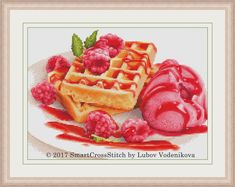 Does this still life look delicious to you? If yes, do not hesitate to stitch the lovely kitchen embroidery design! The size of the cross stitch pattern is right to decorate one of your walls. #raspberry #icecream #crossstitch #crossstitching #embroidery #crossstitchpattern