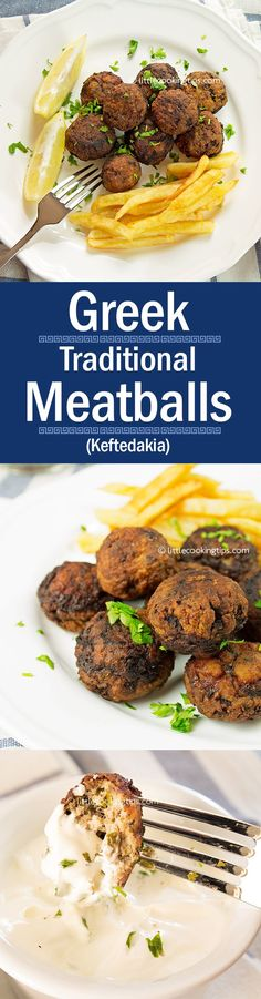 One of the best and easy beef recipes: authentic, traditional Greek meatballs (keftedes). Served with tzatziki and/or Horiatiki salad, this is the ultimate comfort food. Simple and delicious, this is a recipe we love to cook often when we have people over. #Greek #meatballs #traditional #keftedakia