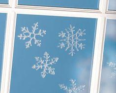 Snowflake window clings.