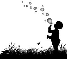 Vector Silhouette of Small Boy <b>Blowing</b> <b>Bubbles</b> Free Vector
