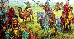 Mongol horsemen on the Steppe by Giuseppe Rava