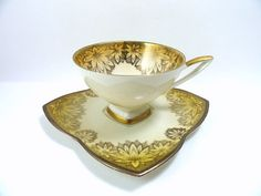 Vintage Alka Bavaria Demitasse Teacup and Saucer, Tea Cup, Square Footed Gold…