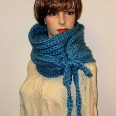 Soft Blue Oversized Scarf, Winter Chunky Scarf, Womans Neckwarmer, Fashion Scarves, Chunky Crochet Scarves, Womans Scarves, Kristin B4-003 by CeciliaAnnDesigns on Etsy