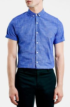 Topman Slim Fit Short Sleeve Grid Pattern Shirt available at #Nordstrom