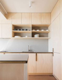 The Tiny Beachside Apartment That Packs An Architectural Punch (The Design Files) Interior Desing, Interior Architecture, Küchen Design, House Design, Plywood Kitchen, Plywood Cabinets, Sweet Home, Cocinas Kitchen, Minimalist Apartment