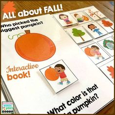 An INTERACTIVE book All About Fall {with basic WH- questions) AND visuals to teach HOW to answer them ~ keep those little minds and hands busy while learning all about Autumn!