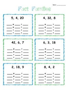 math worksheet : multiplicaiton and division fact family worksheets  educational  : Multiplication And Division Fact Families Worksheets
