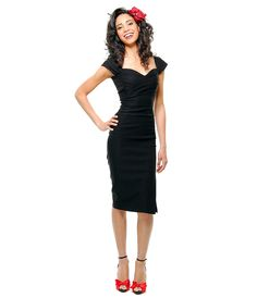 Stop Staring! Mad Style Black Pleated Bodice Cap Sleeve Wiggle Dress