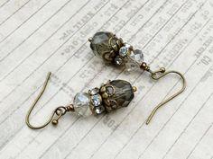 Grey Earrings Gray Earrings Victorian Earrings by SmockandStone