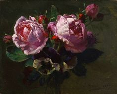 Jean-Baptiste Robie, Still Life with Roses, 1877