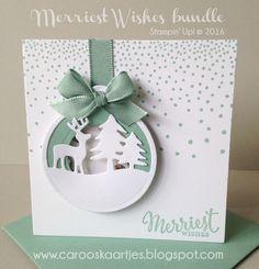 Stampin' Up! doosje met kaarten, kerstkaarten, merriest wishes bundle, kerstcadeautje, Caro's Kaartjes, zelf maken, creatief, label