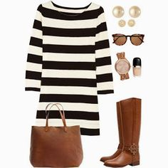 Fall outfit, I am soooo into stripes! love this!