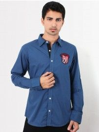 #UCB #Men Blue Spread Collar Shirt