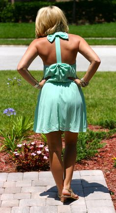 Mint bow dress