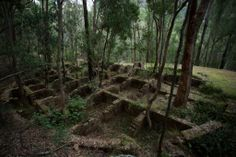 The remains of a circular building at Newnes, which is an abandoned shale oil site in NSW, Australia.