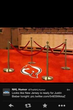 Im laughing so hard at how as Justin Bieber is touring the country, the NHL logos are being barricaded