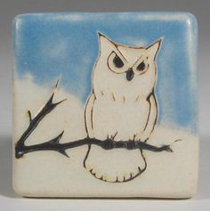 Hand painted owl tile.