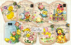 HAPPY EASTER Digital Collage Sheet Set of 8 by TaniaDesign on Etsy, $4.50