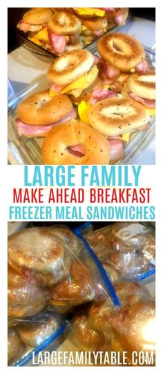 Large Family Make Ahead Breakfast! These breakfast bagels are packed with Bacon, Egg, and Cheese! Large Family Make Ahead Breakfast! These breakfast bagels are packed with Bacon, Egg, and Cheese! Make Ahead Breakfast Sandwich, Best Breakfast, Breakfast Recipes, Bacon Breakfast, Quick Breakfast Ideas, Healthy Make Ahead Breakfast, Make Ahead Brunch, Frozen Breakfast, School Breakfast