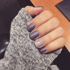 Purple Matte Nails with Glitter (scheduled via http://www.tailwindapp.com?utm_source=pinterest&utm_medium=twpin)