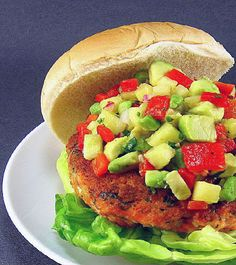 One Perfect Bite: Salmon Burgers with Chipotle Aioli and Pineapple-Avocado Salsa