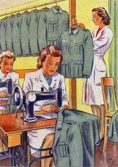 """WWII postcard - part of a series called """"Women working for you"""" (courtesy of Retronaut.com) ========================= Второй мировой войны открытку - часть серии под названием """"Женщины, работающие для вас"""" (любезность Retronaut.com)"""