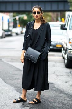 Photo via: Refinery29 Oh, how we love our black-on-black street style inspiration. In this case, it's minimal, cool and super easy to pull off. Simply add a black blazer over a basic black dress or cu
