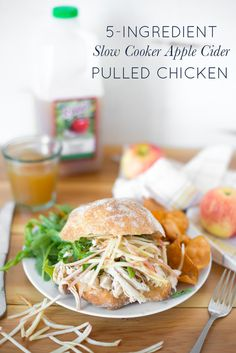 5-Ingredient Slow Cooker Apple Cider Pulled Chicken is simple to prepare and yields super tender chicken in a sweet and savory sauce that everyone in the family will love.