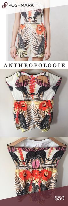 Anthropologie Corey Lynn Calter Leopard Romper Anthropologie Corey Lynn Calter Strapless Leopard & Tropical Print Romper. Has pockets. 32 inches long. 3.5 inch inseam short. 17.5 inch bust. 15 inch waist. Lined. Gently worn. Great condition. Feel free to make an offer or bundle & save. Pants Jumpsuits & Rompers
