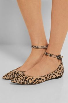 Heel measures approximately 10mm/ 0.5 inches Leopard-print calf hair Buckle-fastening ankle strap Made in Italy