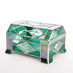 Stained Glass Jewelry Box Beveled In Teal by Tini2555 on Etsy, $175.00
