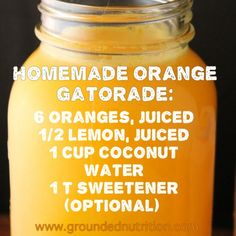Homemade Gatorade without the sweetener. Now you know that you've been saved from spontaneous combustion after a hard workout if you drank Gatorade. It's had an actual flame retardant chemical in it, and still does. Yummy Drinks, Healthy Drinks, Healthy Eating, Yummy Food, Clean Eating, Refreshing Drinks, Healthy Cooking, Cooking Tips, Cooking Photos