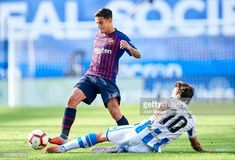 Philippe Coutinho of FC Barcelona duels for the ball with Mikel Oyarzabal of Real Sociedad during the La Liga match between Real Sociedad de Futbol. Fc Barcelona, Football, Running, Sports, Philippe Coutinho, The League, Soccer, Hs Sports, Futbol