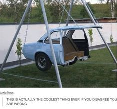 Creative reuse for an old car body! a car swing how awesome .- Creative reuse for an old car body! a car swing how awesome is this love it! Creative reuse for an old car body! a car swing how awesome is this love it! Cool Ideas, Creative Ideas, Diy Ideas, Decor Ideas, Cool Swings, Cool Inventions, Cool Stuff, Random Stuff, Old Cars