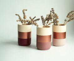 Wooden Vases  Home Decor  Copper Blush Burgundy  Homeware