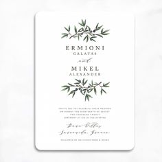 Olive Branch Wedding Invitations | Smitten on Paper