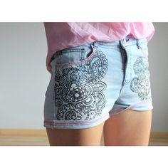 Tatoo blue denim shorts ($18) ❤ liked on Polyvore