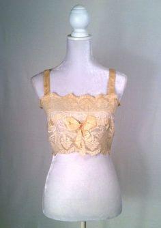 Vintage Flapper Bandeau Bra Lace & Silk 1920s Lingerie Brassiere Camisole