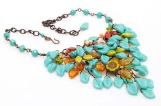 Yellow Green Turquoise Bib Necklace by CherylParrottJewelry