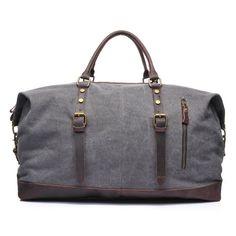 Dig dog bone Mens Luggage Bag Crazy Horse Leather Travel Bag Retro Multifunctional Portable Messenger Bag Canvas Bag Color : Blue, Size : L