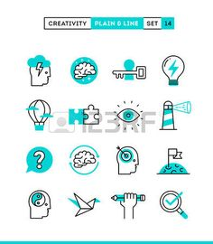 Creativity imagination problem solving mind power and more Plain and line icons set flat design vect Stock Vector
