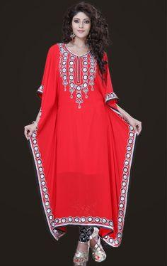 Picture of Glamorous Red Salwar Kameez Kaftan Dress