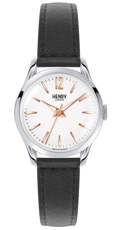 Henry London Highgate Ladies Black Leather Strap Watch with Stainless Steel Silver Casing - White Purple Leather, Black Leather, Casual Watches, Black Watches, Vintage Omega, Stitching Leather, Watch Brands, Smooth Leather, Quartz Watch