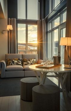 LEMAYMICHAUD | Design | Architecture | Interior Design | La Ferme | Hotel | Charlevoix | Le Massif | Hospitality | Suite | Room | Seating | Lounge | Sunset | Romantic | Vacation |